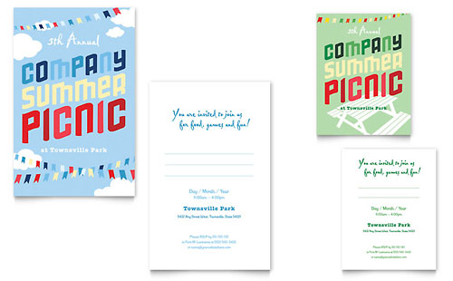 Company Summer Picnic - Note Card Design Template