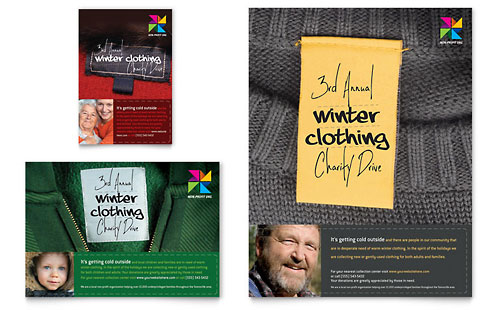 Winter Clothing Drive Flyer & Ad Template Design