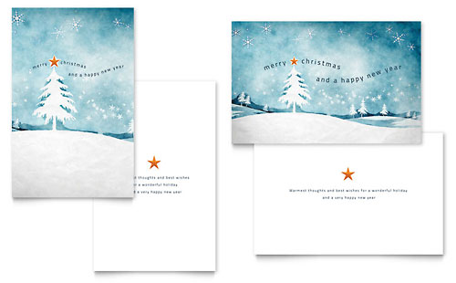 Winter Landscape - Greeting Card Template Design