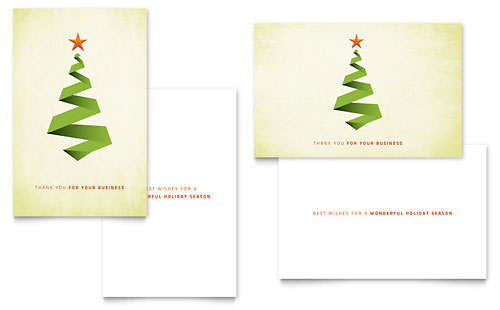 Ribbon Tree Greeting Card Design Template