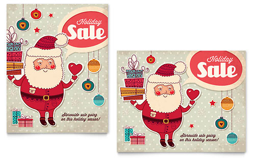 Retro Santa Sale Poster Template Design