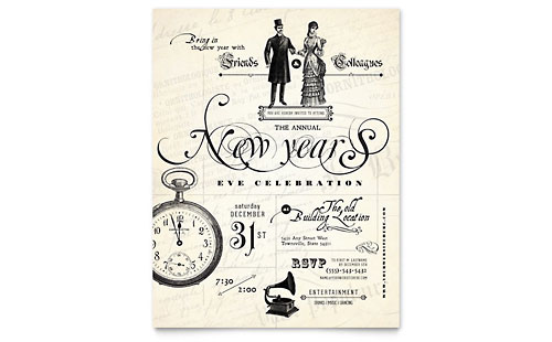 Vintage New Year's Party Flyer Design Template
