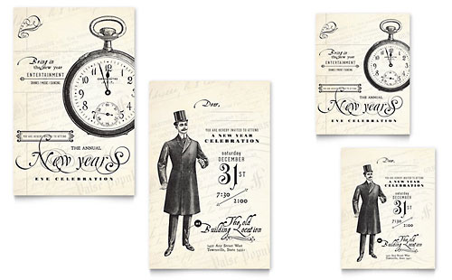 Vintage New Year's Party - Note Card Design Template