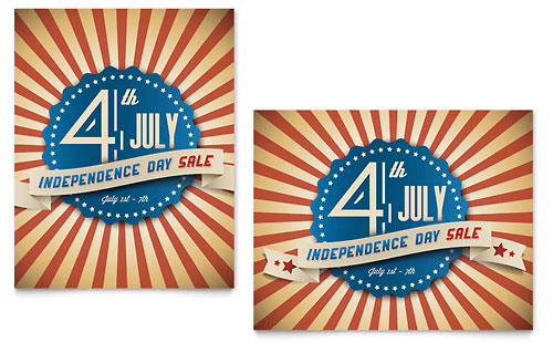 4th of July Sale Poster Design Template