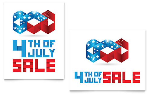 July 4th Patriotic Sale Poster Design Template