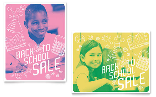 Back 2 School Sale Poster Design Template