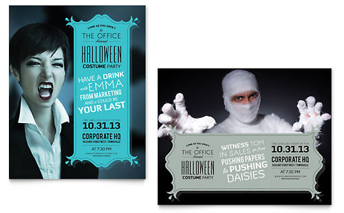 Halloween Costume Party Poster Design Template