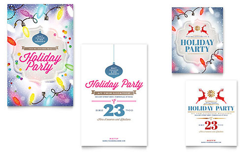 Holiday Party Note Card Template Design