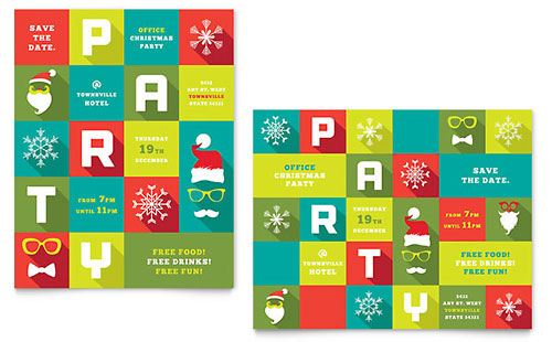 Work Christmas Party Poster Template Design