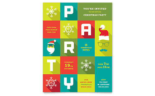 Work Christmas Party Flyer Template Design