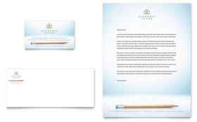 Academic Tutor & School - Business Card & Letterhead Template