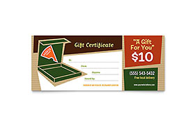 Pizza Pizzeria Restaurant - Gift Certificate Template