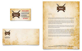 Steakhouse BBQ Restaurant - Business Card & Letterhead Template