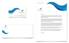 Swimming Pool Cleaning Service - Business Card & Letterhead Template
