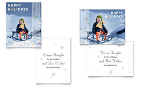Child Sledding - Greeting Card Design Template