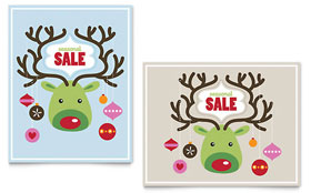 Reindeer Ornaments - Sale Poster Design Template