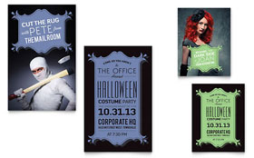 Halloween Costume Party - Note Card Design Template