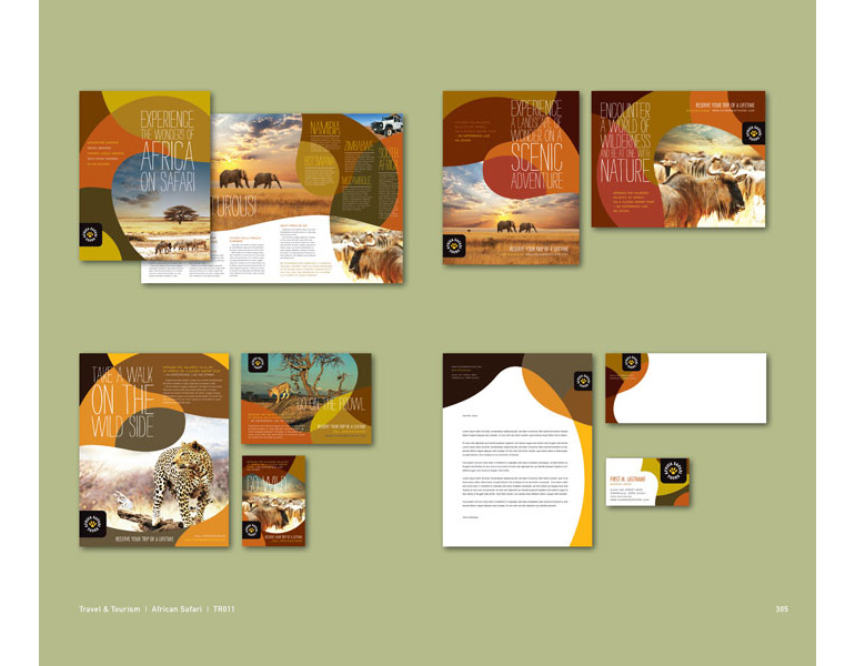 Africa Travel Graphic Design Catalog Page Sample