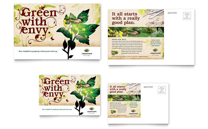 Landscape Design Postcard Template Design
