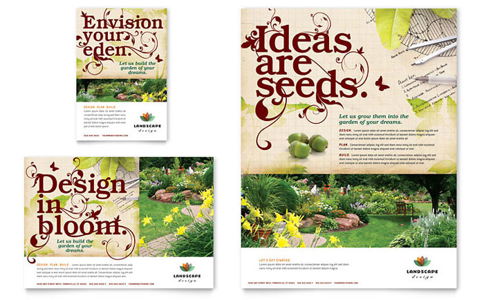Landscape design flyer ad template design for Ad designs