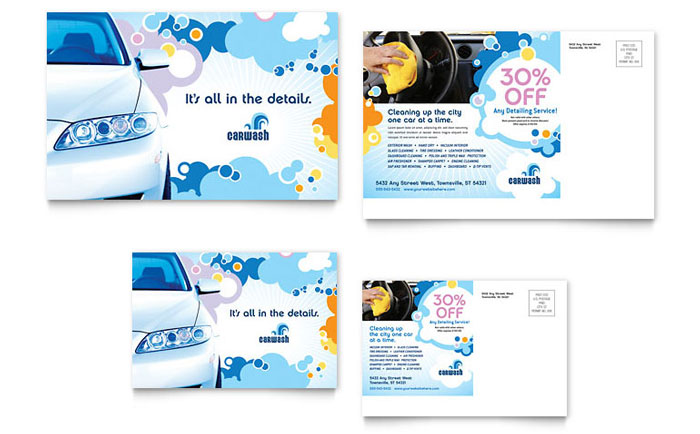 Car wash postcard template design for 6x4 postcard template
