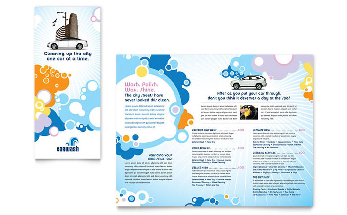 Car wash tri fold brochure template design for Car brochure template