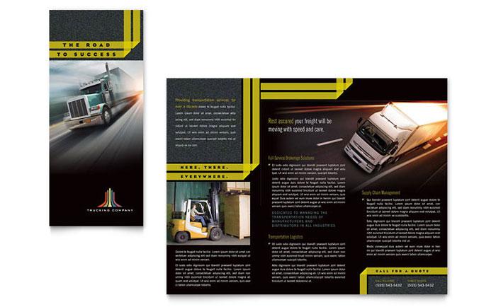 trucking transport tri fold brochure template design. Black Bedroom Furniture Sets. Home Design Ideas