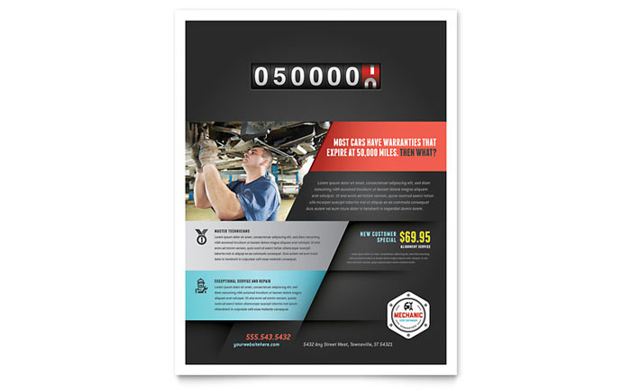 Auto mechanic flyer template design for Automotive gift certificate template