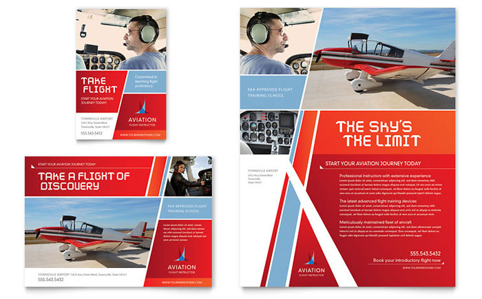 advertising brochure template - aviation flight instructor flyer ad template design