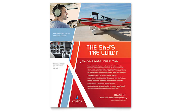 aviation flight instructor flyer template design