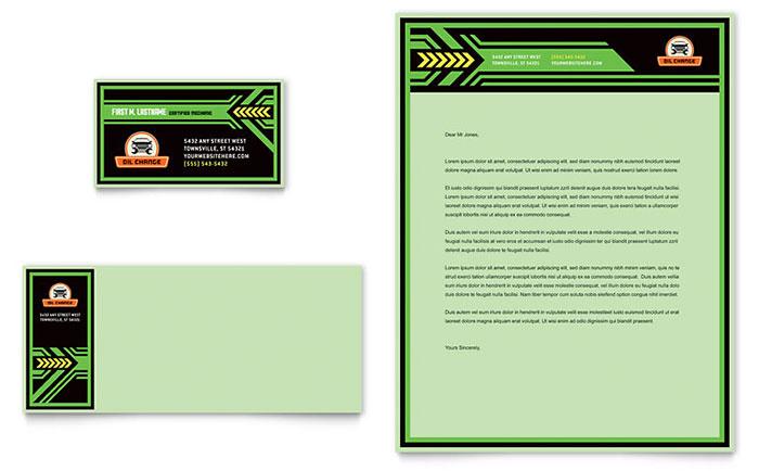 oil change business card  u0026 letterhead template design