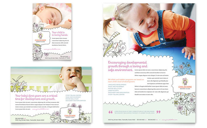 Babysitting daycare flyer ad template design for Daycare brochure template