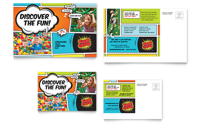 Kids Club Postcard Template Design