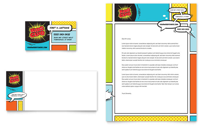 Kids club business card letterhead template design for Free letterhead templates for mac