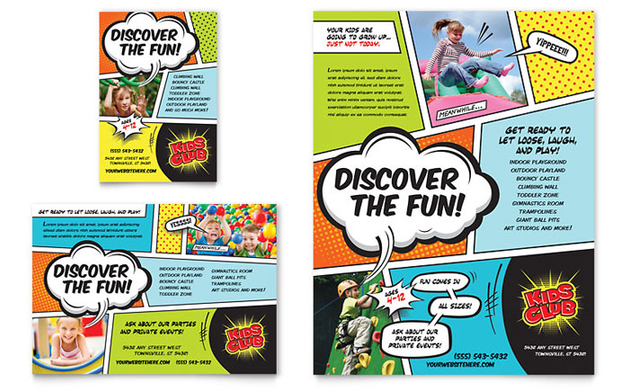 Kids club flyer ad template design for Ad designs
