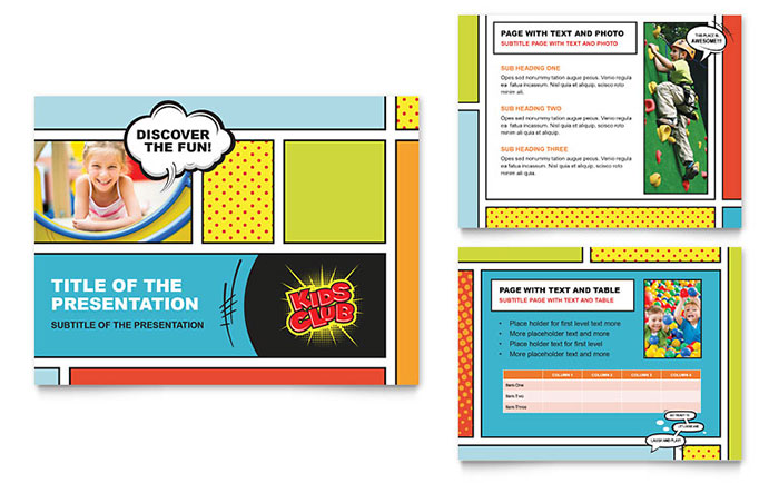 Kids club powerpoint presentation template design for Free brochure templates for kids