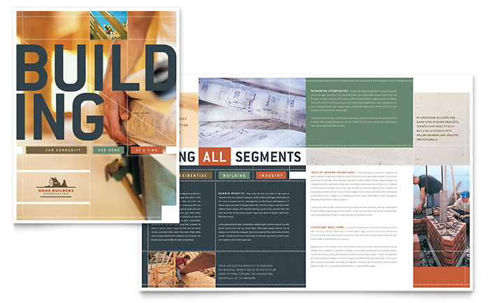 Home builders construction brochure template design for Construction brochure design pdf