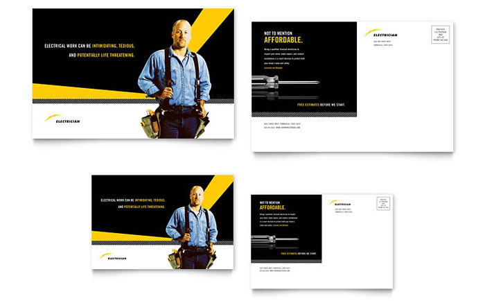 electrician postcard template design