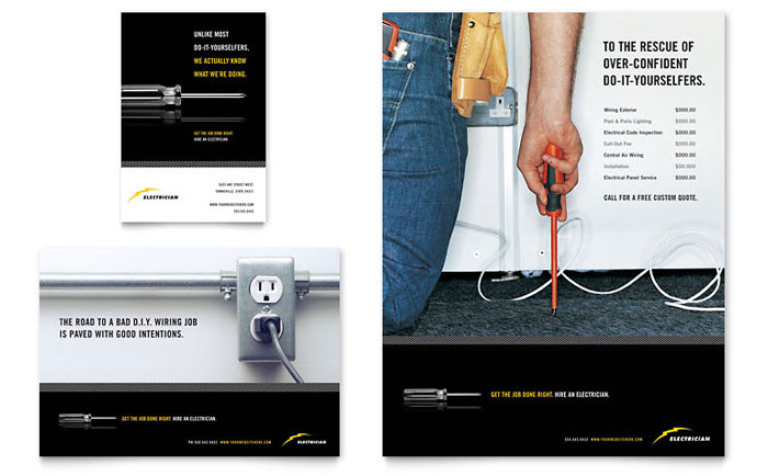 Electrician Flyer amp Ad Template Design