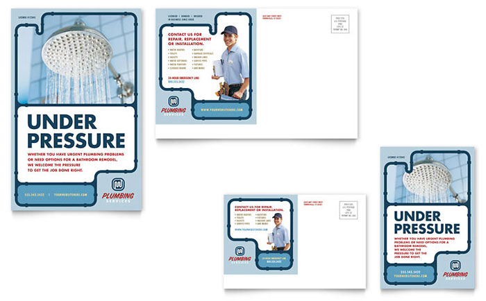 Plumbing services postcard template design for 6x4 postcard template