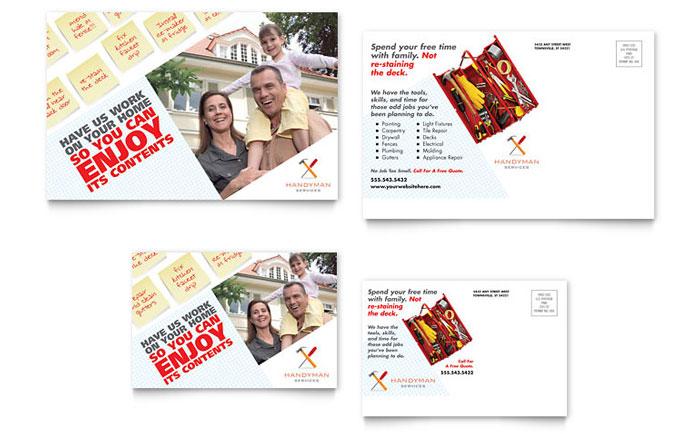 handyman services postcard template design