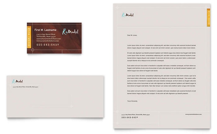Home Remodeling Business Card Letterhead Template Design