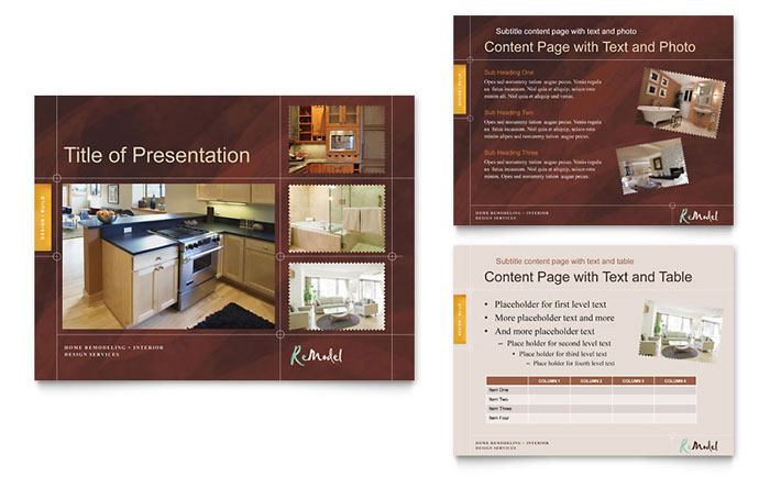 Home remodeling powerpoint presentation template design for Home design templates
