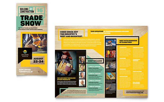 Builder 39 s trade show tri fold brochure template design for Publisher tri fold brochure templates free