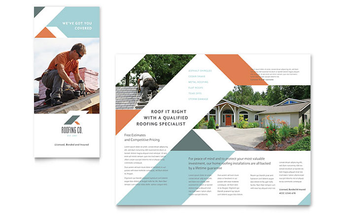 Roofing company brochure template design for Company brochure design templates