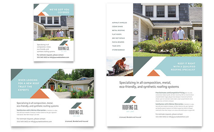 Roofing company flyer ad template design for Construction brochure design pdf