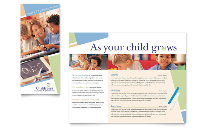Child Care Amp Preschool Brochure Template Design