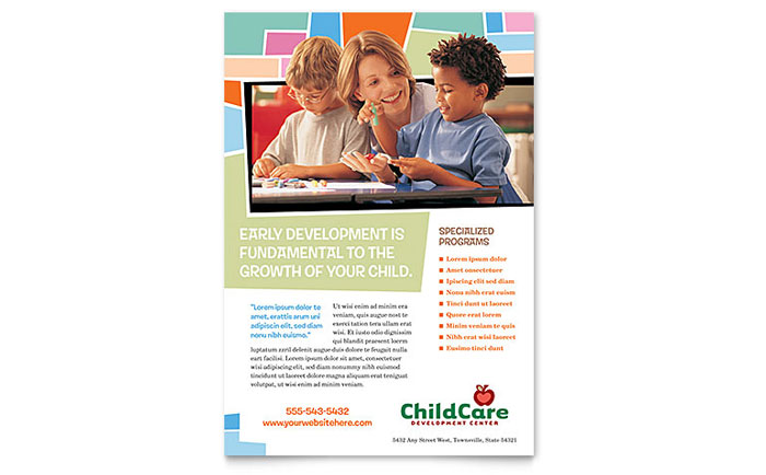 Preschool Kids Day Care Flyer Ad Template Design – Daycare Flyer