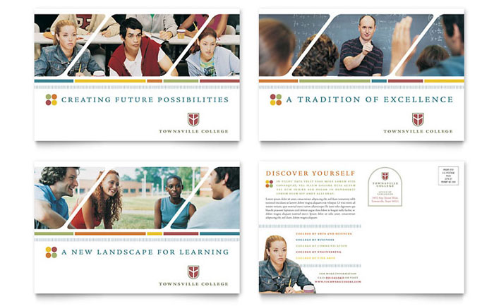 college  u0026 university postcard template design