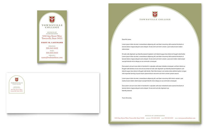 College & University Business Card & Letterhead Template Design